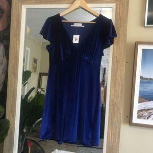 blue velvet urban outfitters dress
